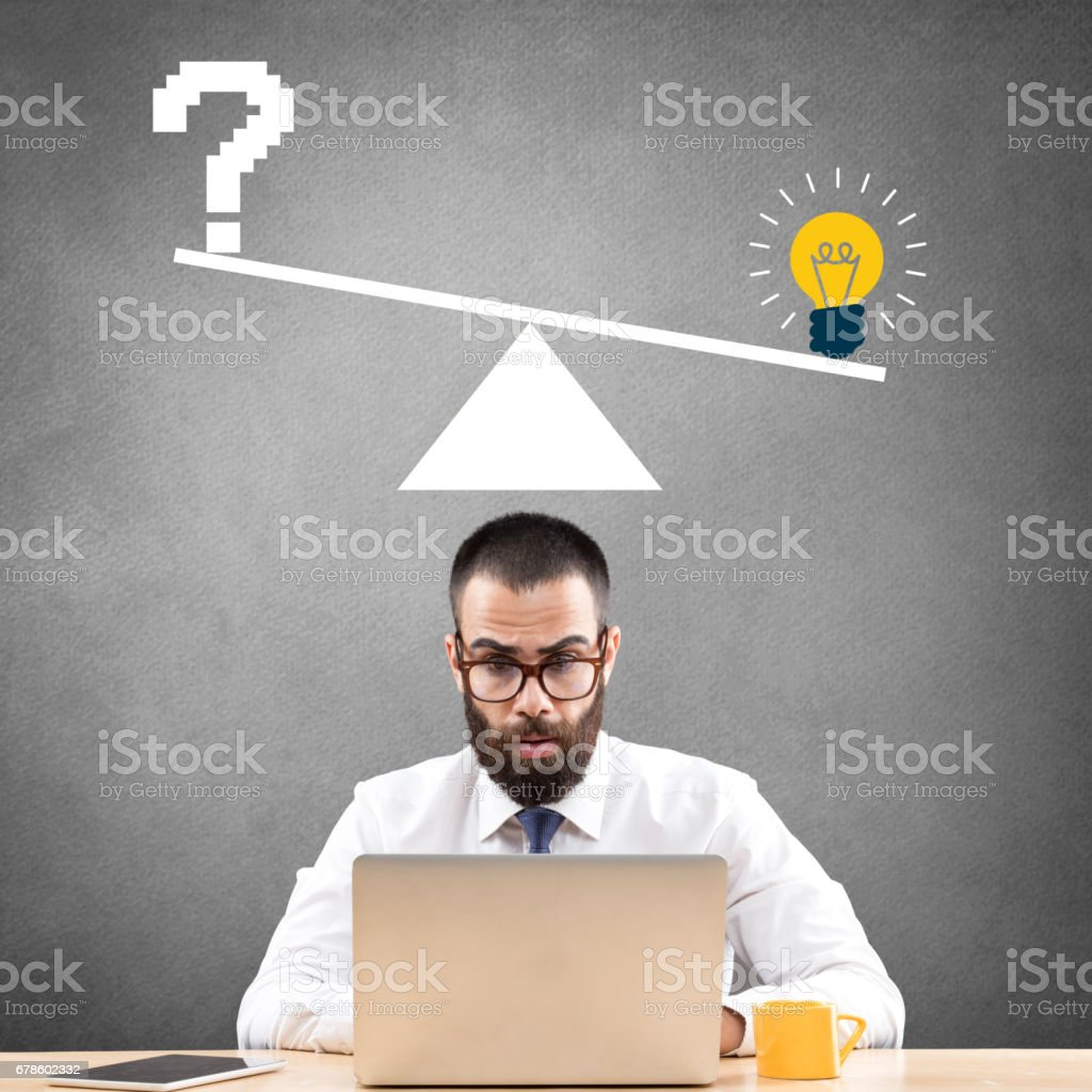 Confused businessman working on laptop vector art illustration