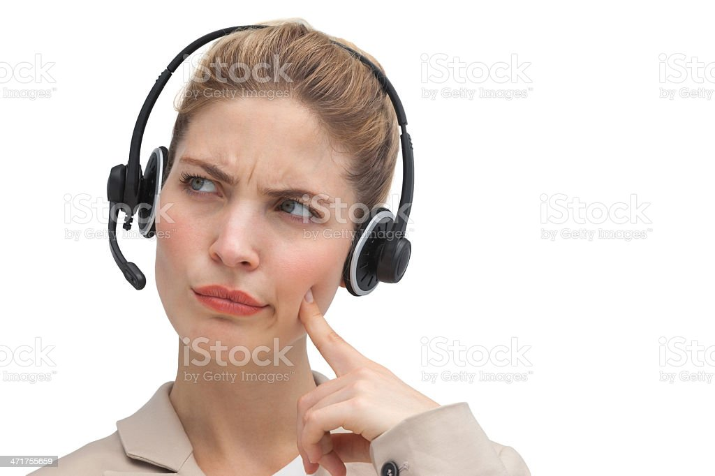 Confused call center agent royalty-free stock photo