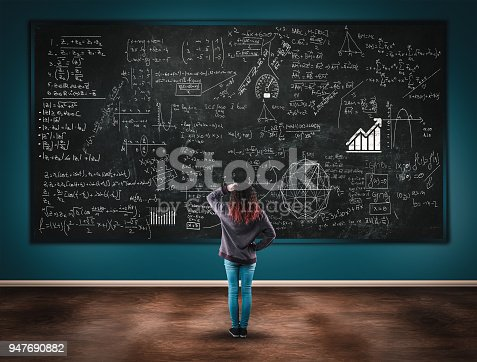 istock Confused girl in front of a blackboard full of formulas. 947690882