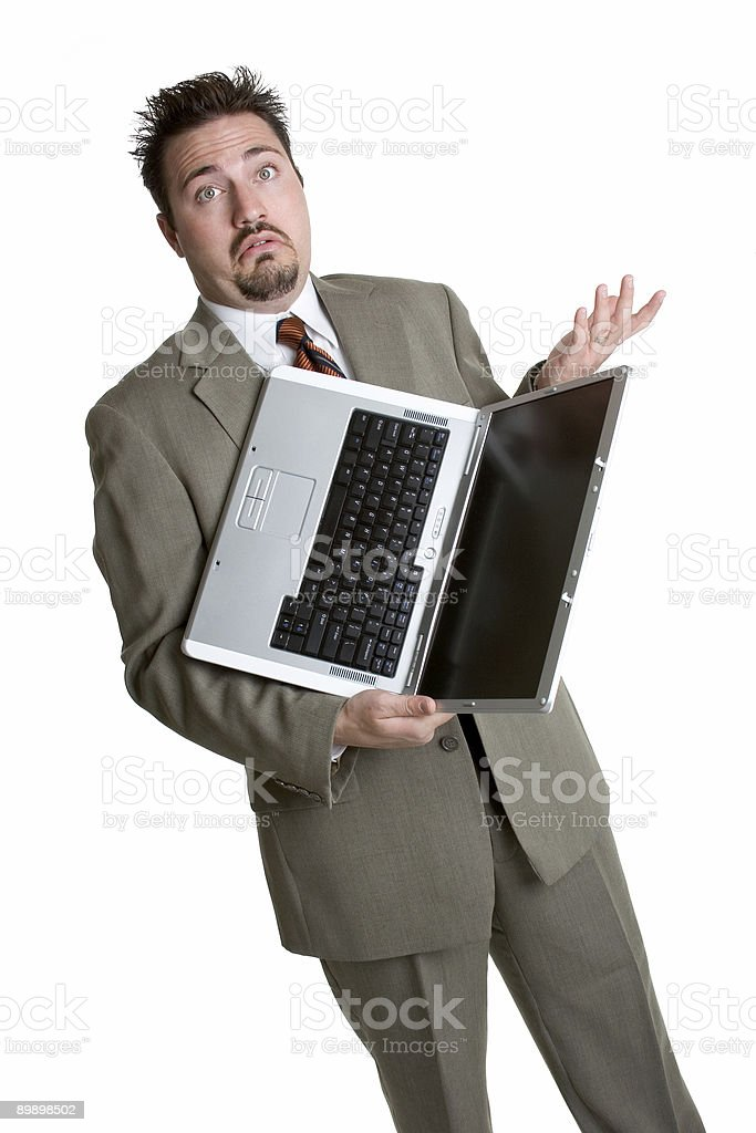 Confused laptop man royalty free stockfoto