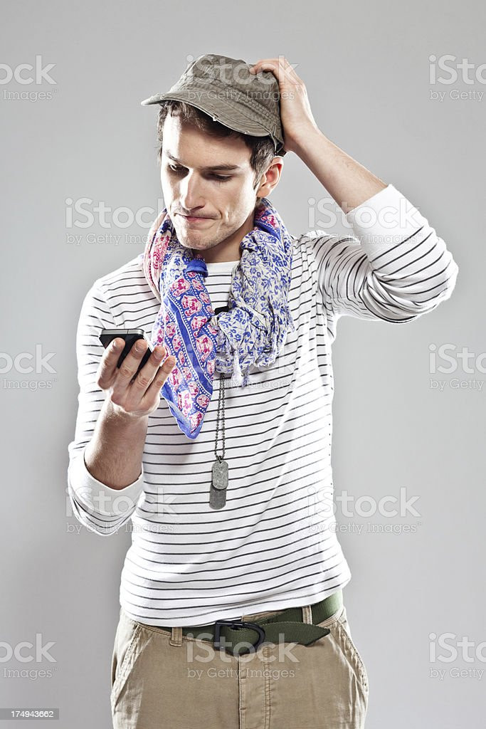 Confused male traveller royalty-free stock photo