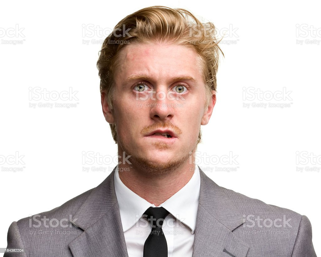 Confused middle aged male portrait stock photo