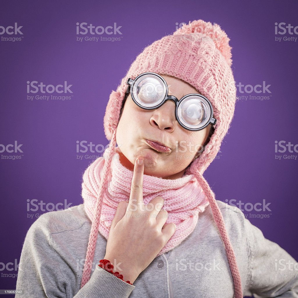 Confused nerd girl royalty-free stock photo
