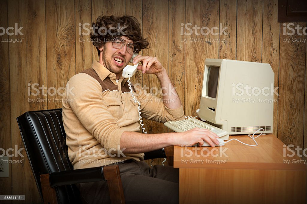 Confused Nerdy Computer Man stock photo