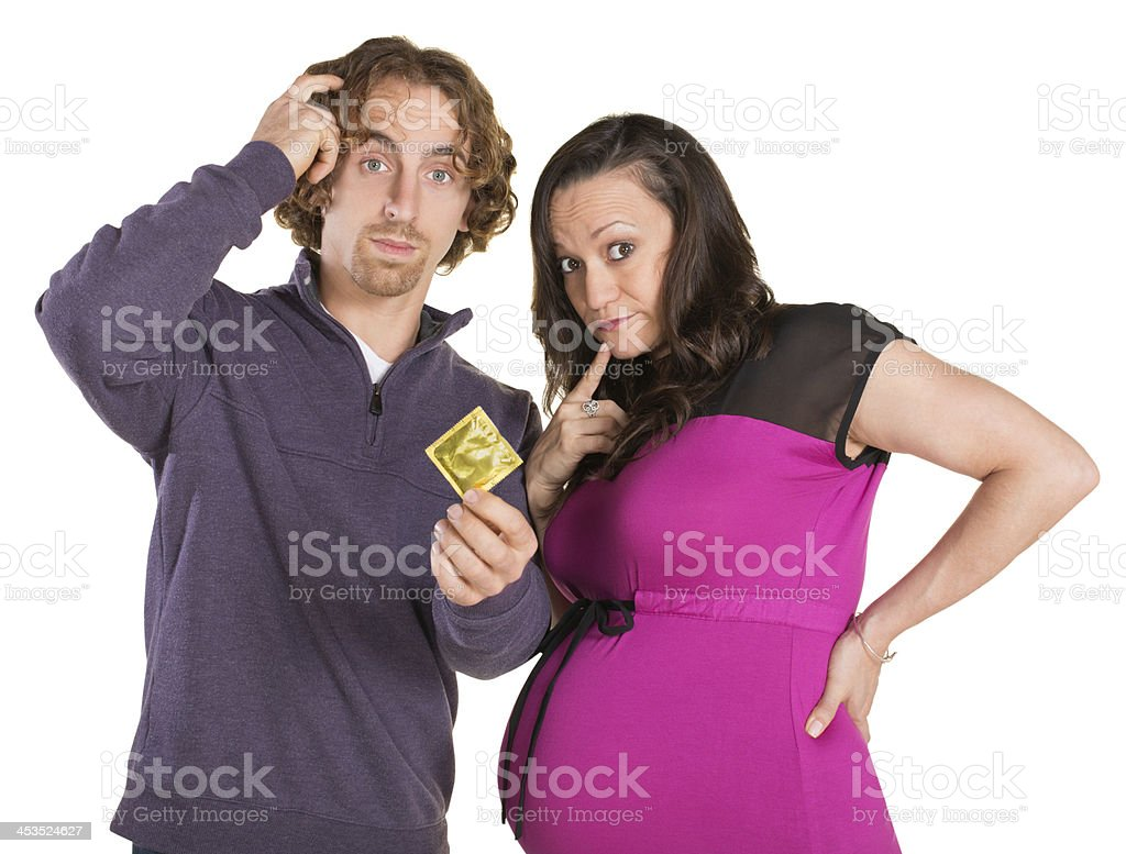 Confused Parents with Condom royalty-free stock photo