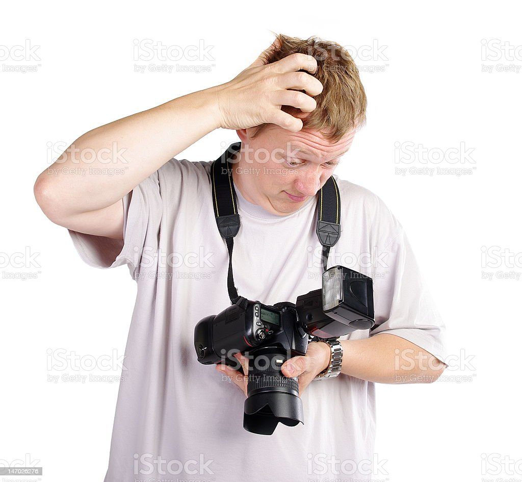 Confused photographer royalty-free stock photo