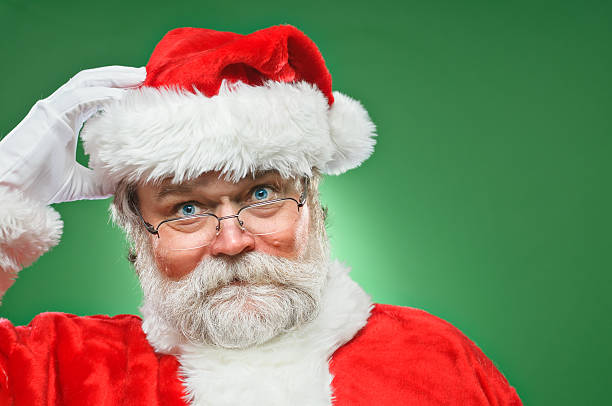 Confused Santa Claus stock photo