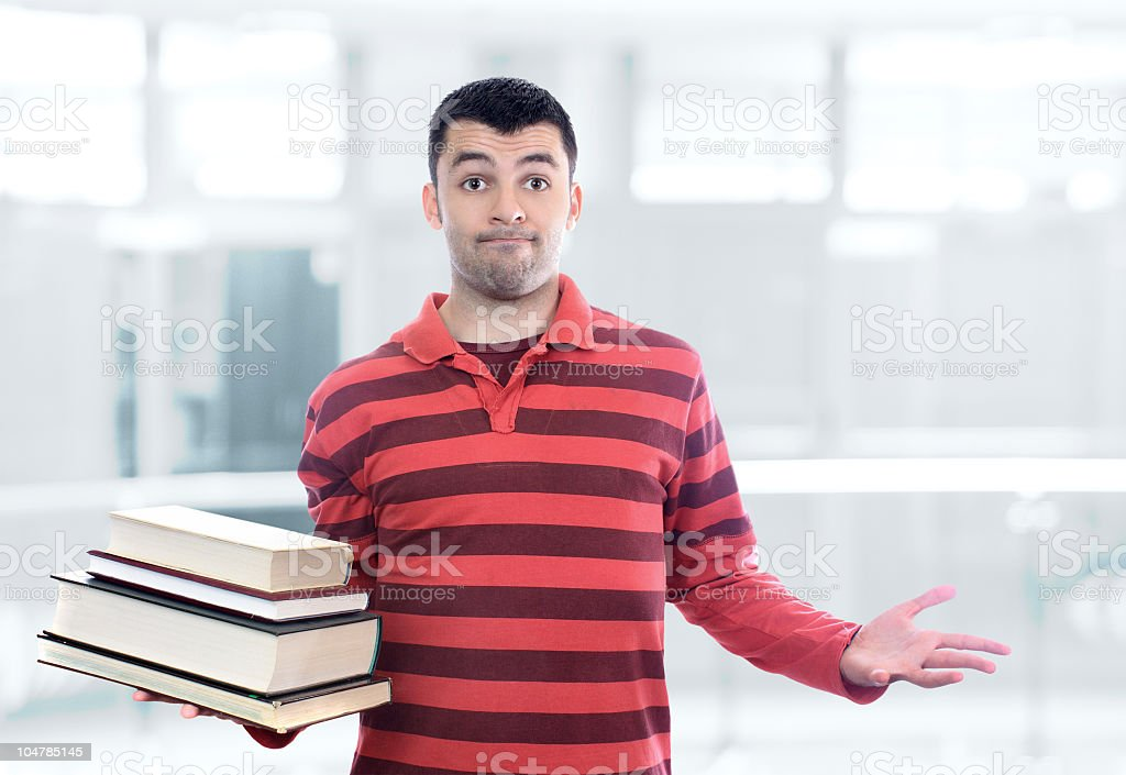 Confused student. stock photo