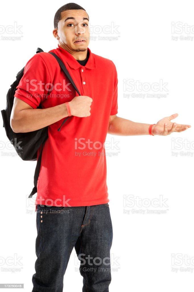 Confused Student with Book Bag stock photo