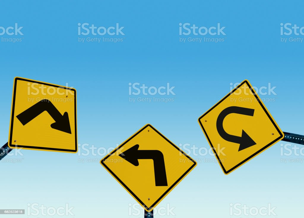 confused traffic signs stock photo