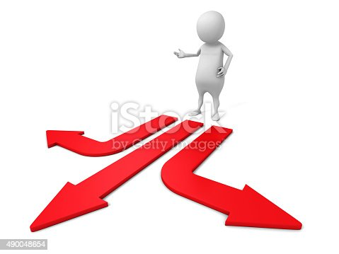 469720582 istock photo Confused White 3d Man Choice The Direction Arrow 490048654