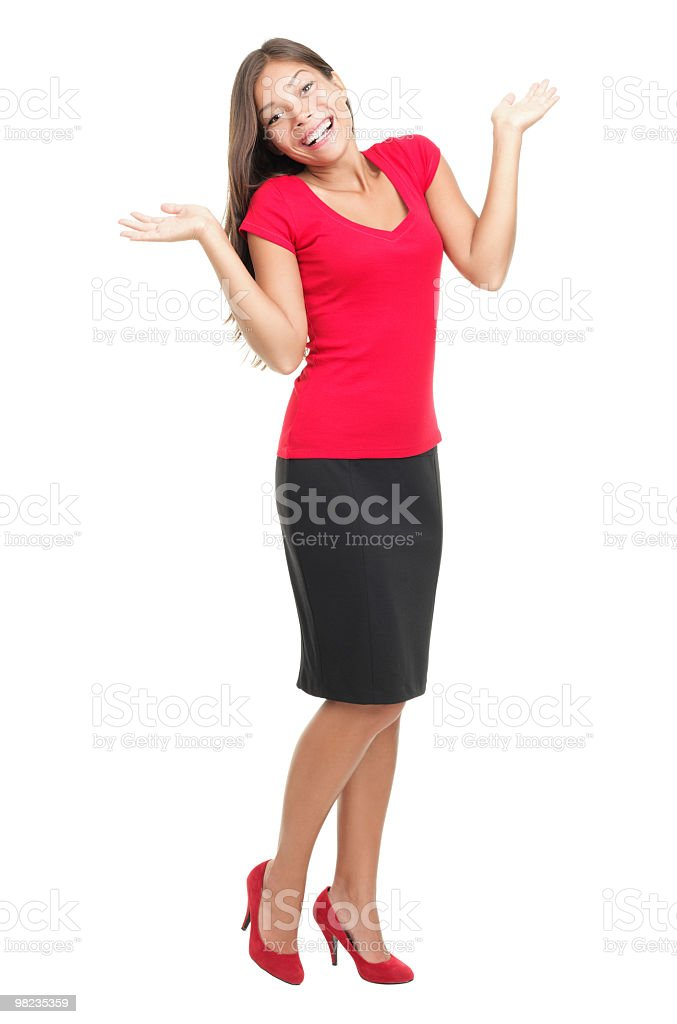 Confused woman shrugging royalty-free stock photo