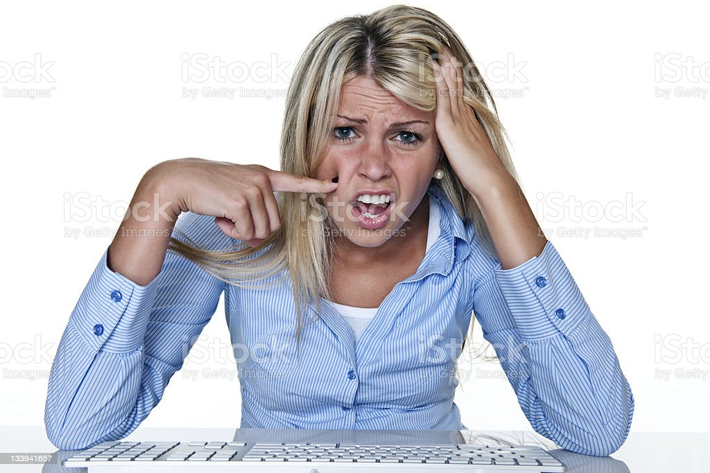 confused woman using a computer royalty-free stock photo