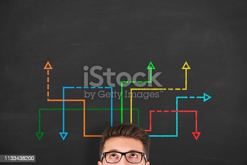 istock Confused, young businessman looking at many twisted arrows on the blackboard background 1133438200