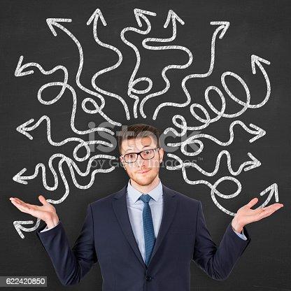 istock Confused young man on blackboard 622420850