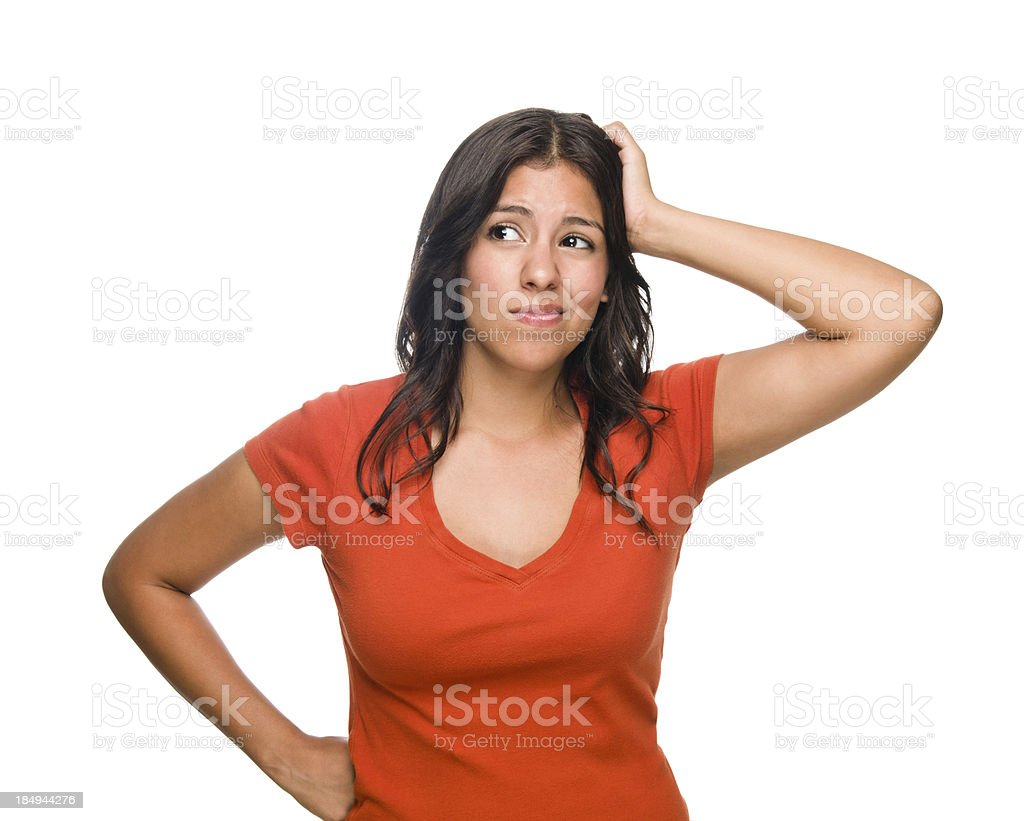 Confused young woman royalty-free stock photo