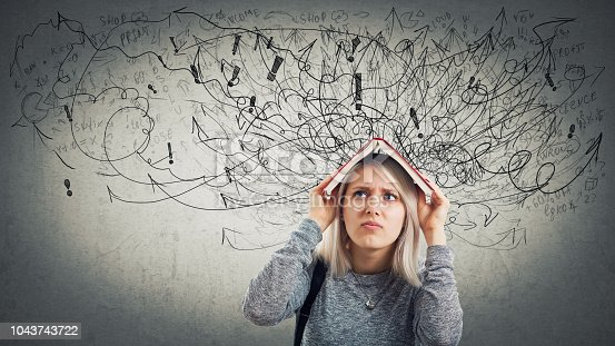 istock Confused young woman student 1043743722