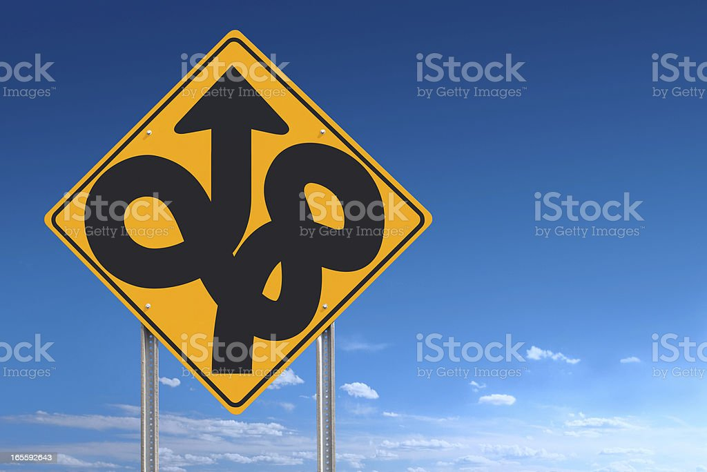 Confusion Uncertainty Lost Ahead Road Sign Post Over Sky royalty-free stock photo