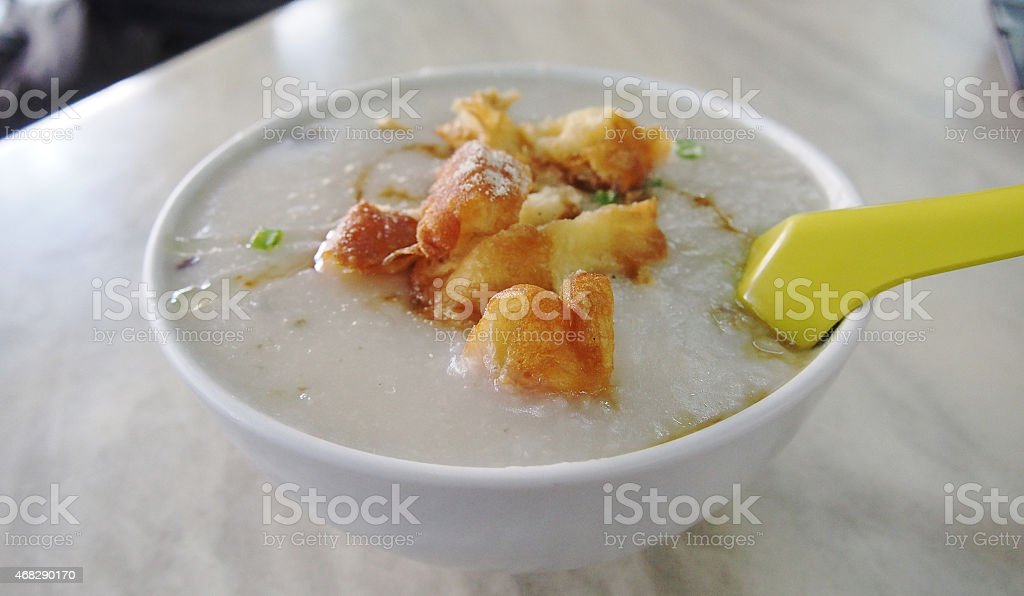 Congee with pork stock photo