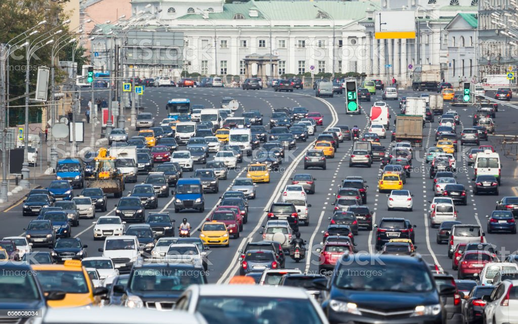 Congested with cars multilane road stock photo