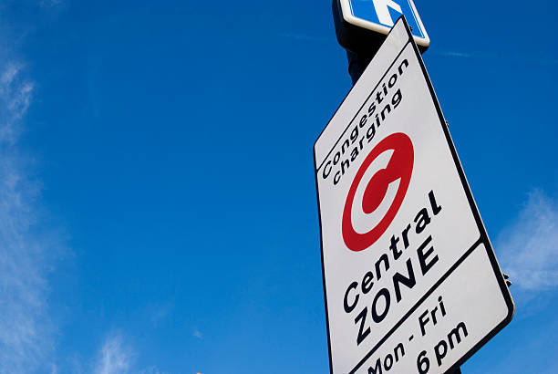 Congestion Charge Sign at London. stock photo