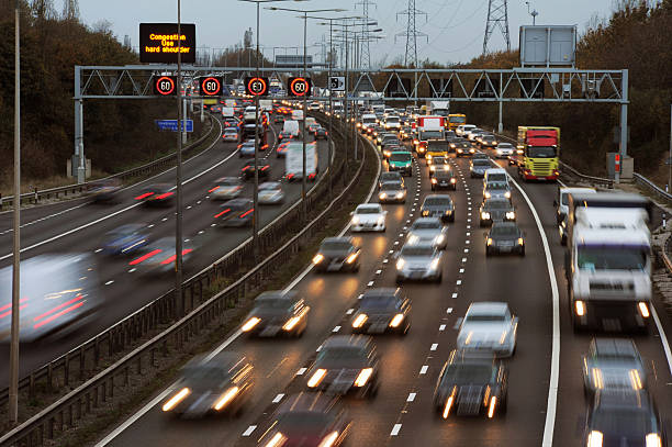 M6 Congestion Rush Hour Traffic on the M6 Motorway, Walsall,UK. multiple lane highway stock pictures, royalty-free photos & images