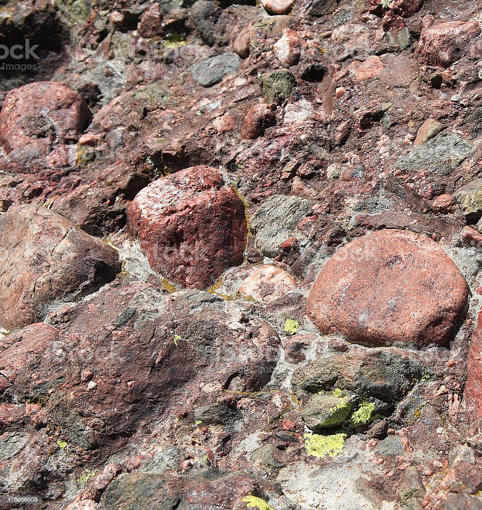 conglomerate rock detail stock photo