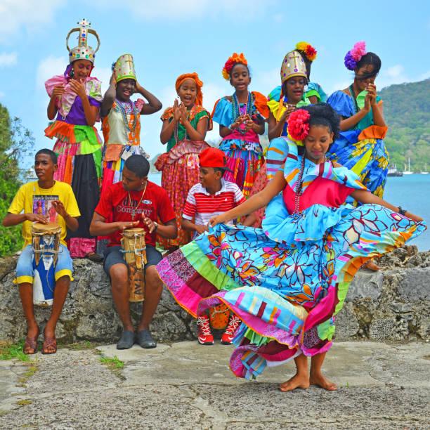 Congo Dancing in Portobelo, Panama stock photo