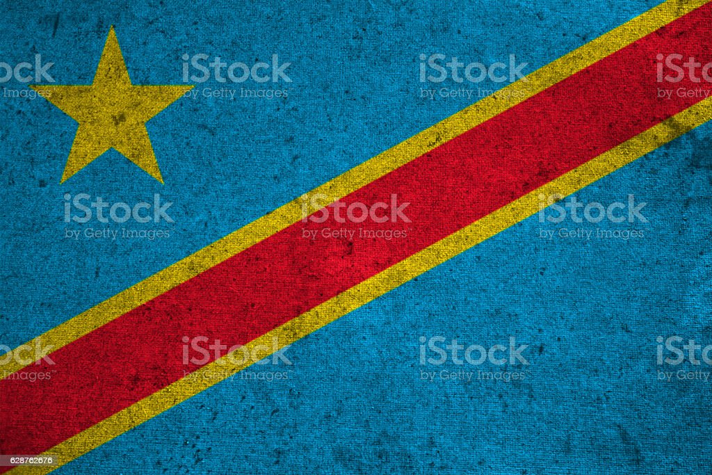 congo flag on an old grunge background stock photo
