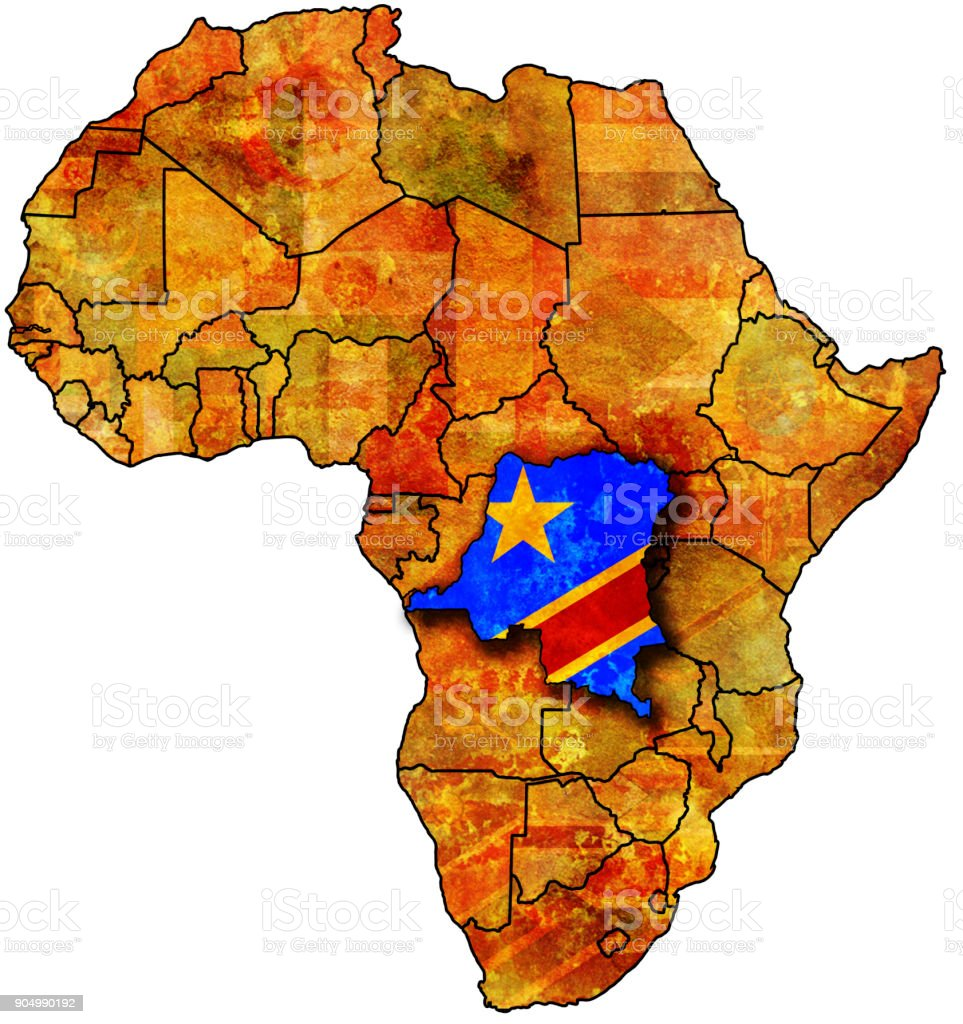 Congo Flag On Political Map Of Africa Stock Photo & More Pictures of ...