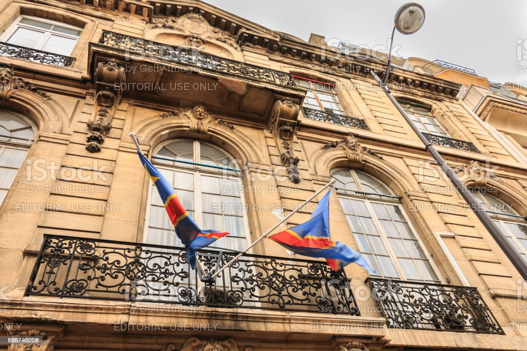 Congo Flags Floating Above the Embassy Entrance stock photo