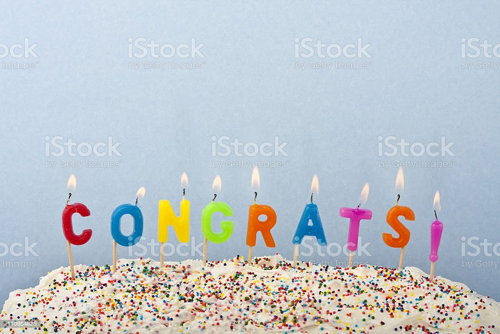 Congrats cables buying on a cake stock photo