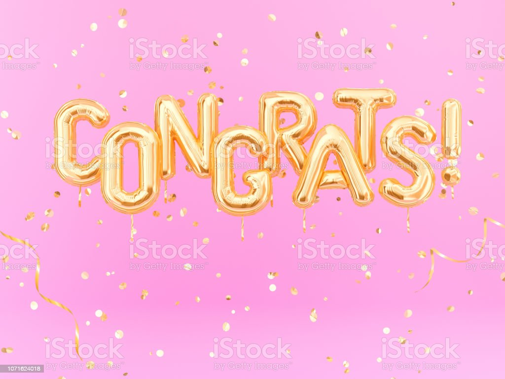 Parabéns texto com confete dourado. Bandeira de parabéns - foto de acervo
