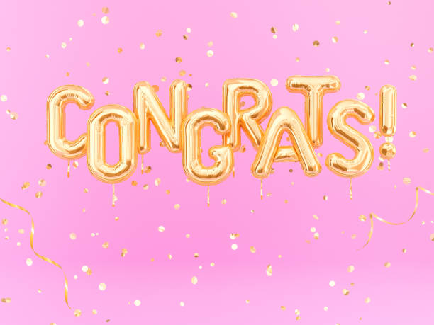 congrats text with golden confetti. congratulations banner - congratulations stock photos and pictures