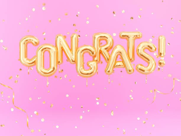 felicidades texto con confeti de oro. bandera de felicitaciones - agradecimiento fotografías e imágenes de stock