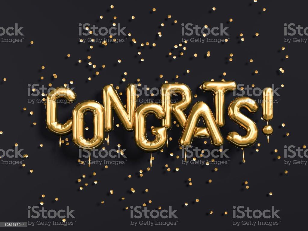 Congrats text with golden confetti. stock photo