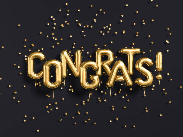 congrats text with golden confetti. - banner web foto e immagini stock