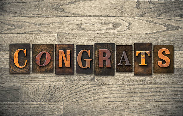 congrats de madera concepto de tipografía - agradecimiento fotografías e imágenes de stock