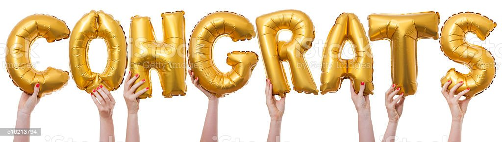 Congrats word made from gold balloons bildbanksfoto
