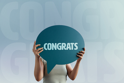 Congrats word with speech bubble