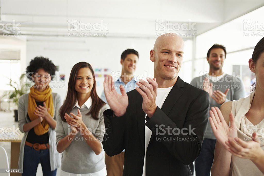 Congratulating each other on a job well done stock photo