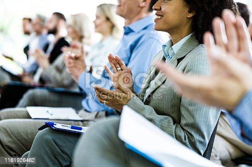 894290604 istock photo Congratulating on successful business seminar in board room! 1161926462