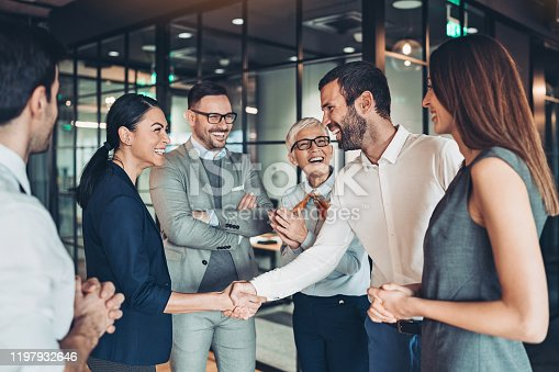 istock Congratulating the new partners 1197932646