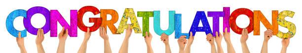 letras de madera colorido felicitaciones - agradecimiento fotografías e imágenes de stock
