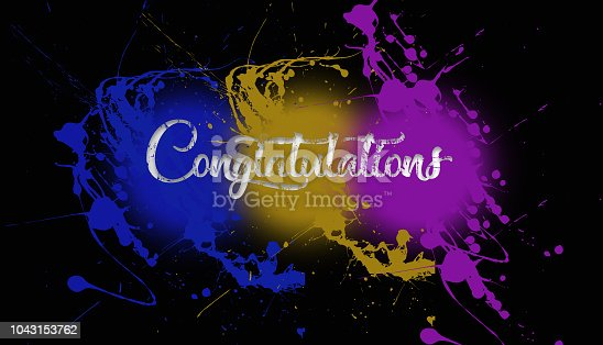 istock congratulations paint splatter on a black wall caligraphy type font 3 color explosion 1043153762