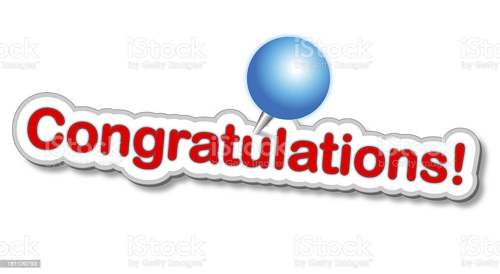 Congratulations Sticker With Push Pin royalty-free stock photo