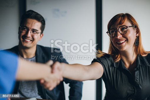 istock Congratulations, you are our new employee 854114480