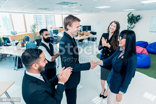 682363912istockphoto Congratulations, you have earned this promotion, well deserved. 681952922