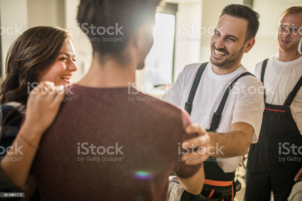 Congratulations, your apartment is ready for relocation! stock photo