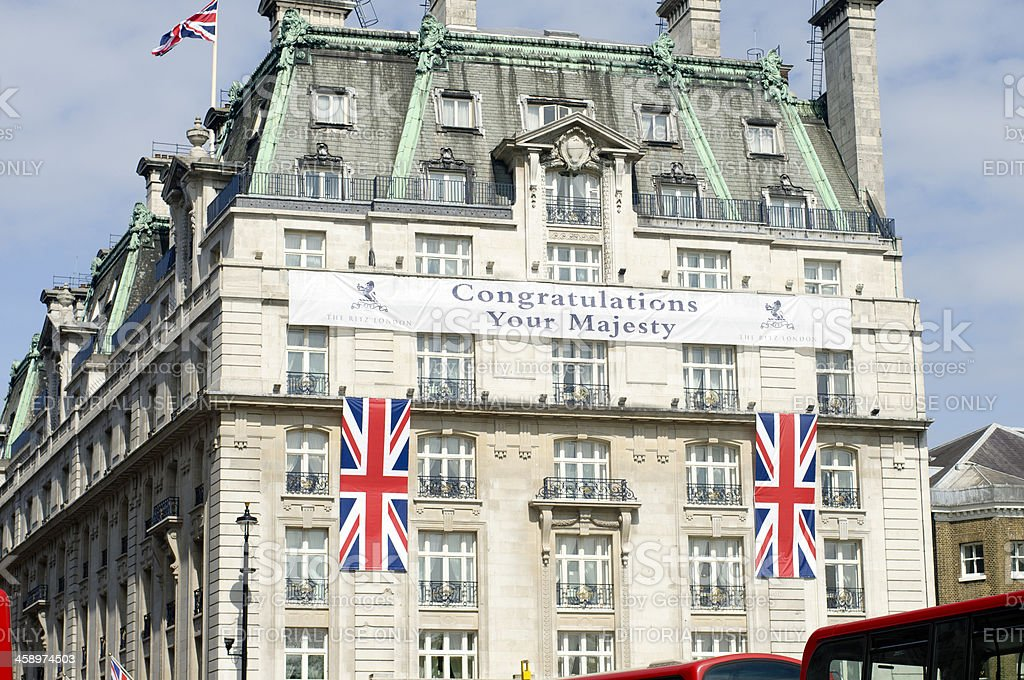 Congratulations Your Majesty Banner Hanging On The Ritz Hotel Facade stock photo